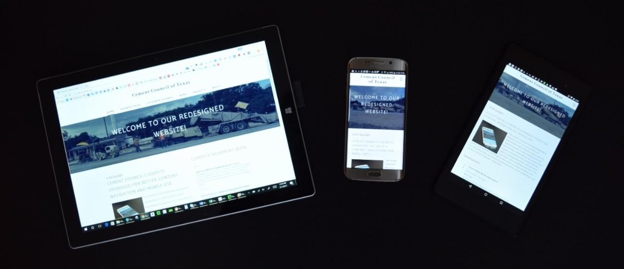 """Site du Conseil du ciment du Texas sur un ordinateur portable, un téléphone portable et une tablette """"style ="""" width: auto, max-width: 100% """"/>   </div> </div> <div class="""