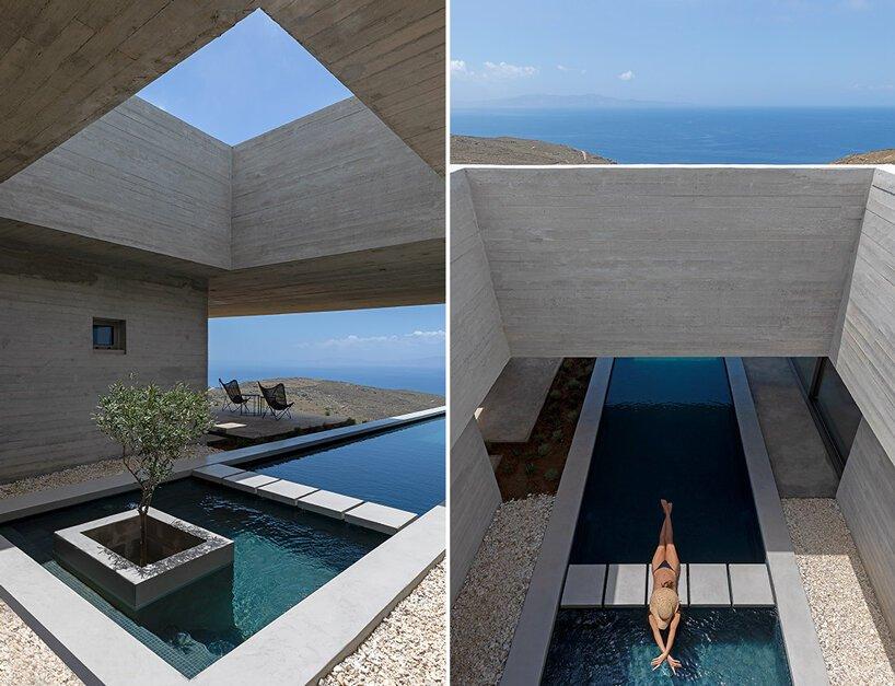 aristides dallas architects insère un `` pool house '' dans le paysage accidenté de l'île de tinos