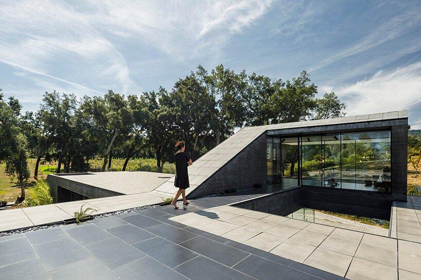 La maison en chêne-liège d'Hugo Pereira émerge du sol comme un relief rocheux