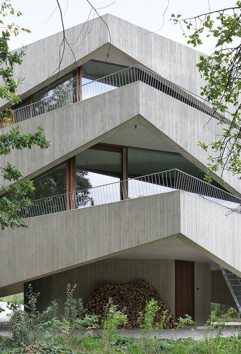 Graux & Baeyens Architecten empile des cales en béton pour former la `` maison N-DP '' en Belgique
