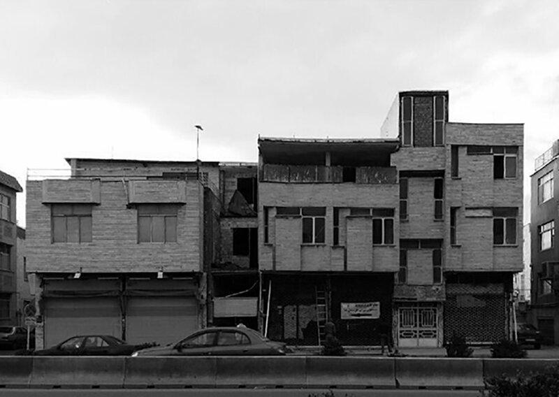 angles incurvés, cadres de fenêtres extrudés + points carrés caractérisent le bâtiment futuriste en iran